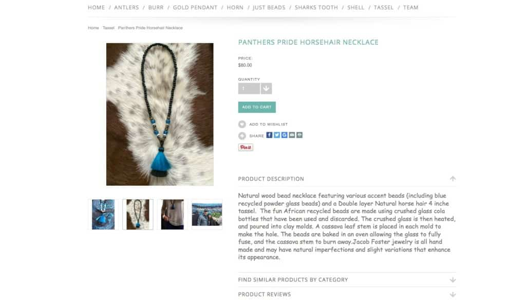Panthers_Pride_Horsehair_Necklace_-_Jacob_Foster_Designs-e-commerce-site